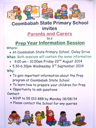 Prep 2015 - Parent Information Sessions